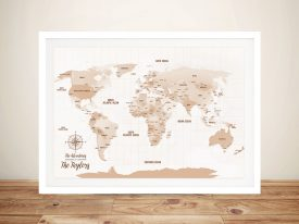 Mocha-Personalised-Push-Pinboard-Travel Map Gift Art