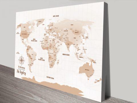 Push Pin Brown World Map Canvas Print