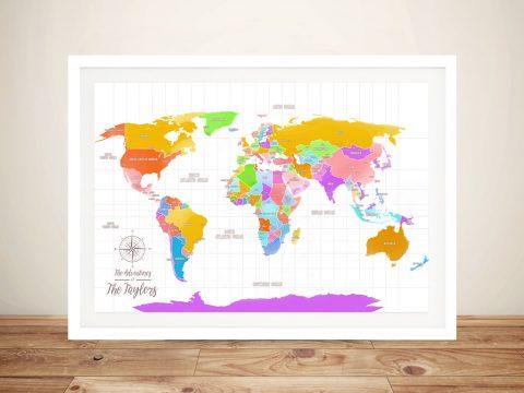 Multicoloured Push Pin Travel Map Wall Art