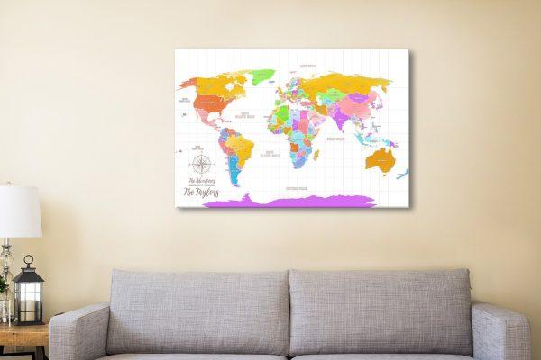 Push Pin World Map Gift