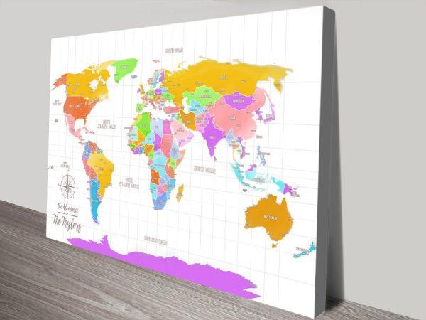 Multicolored World Map Great Gift Ideas Online Australia