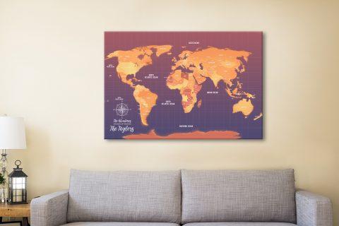 Orange Push Pin Map Canvas Customised Pictures Art