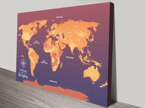 Orange Push Pin Map Canvas Custom Pictures