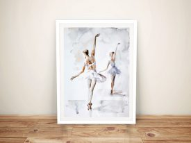Ballerina In Blue Framed Wall Art