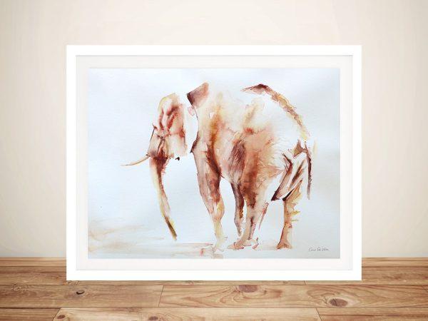 Lone Elephant Framed Canvas Prints