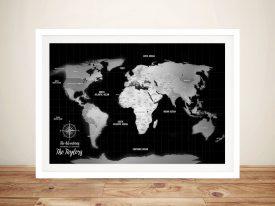 Push pin world map australia custom pinboard wall art print cork silver black shades travel map gumiabroncs Gallery