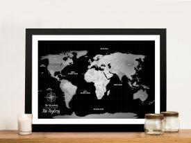 Custom Silver World Map Pushpin Wall Art