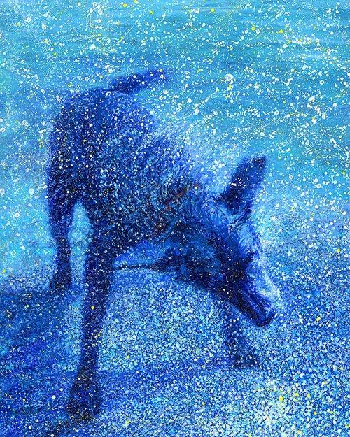 Zippy Shaking Dog Iris Scott Canvas Painting Wall Art