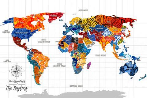 Push Pin World Map Art
