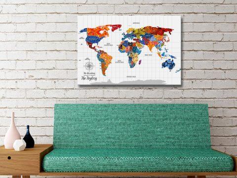 Pop Art World Map Push Pin Canvas Artwork