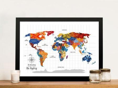 Uber Phunk Push Pin Travel Canvas Painting Map