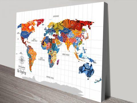 Custom Pop Art Map with Pins canvas print