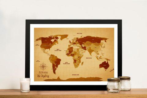 Vintage World Travel Map Gift Art