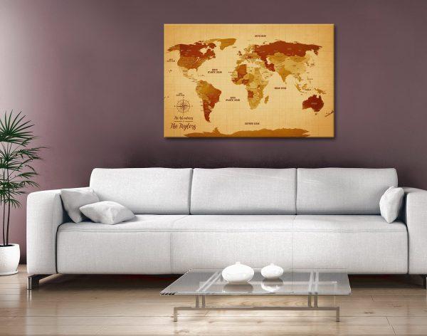 Personalised Vintage World Map Canvas Artwork