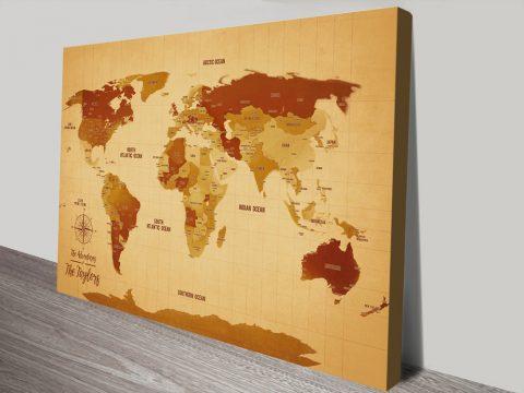 Custom Vintage World Map canvas print