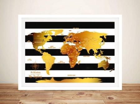 White Stripes & Gold Push Pin Map Canvas Art
