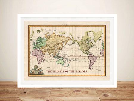 Old World Push Pin Travel Map Canvas Prints