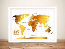 White & Gold Push Pin Travel Map Wall Art