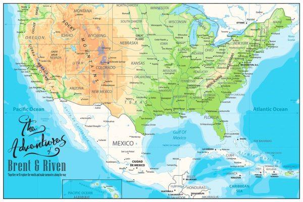 Custom American Adventures Push Pin Map Art Print