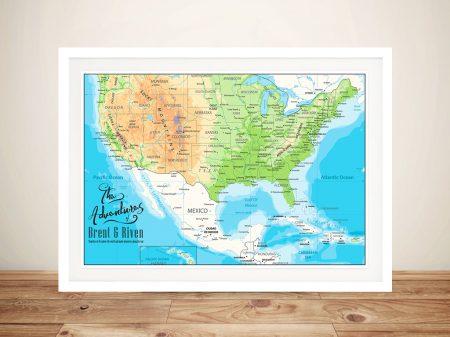 American Adventures Framed Push Pin Map Wall Art