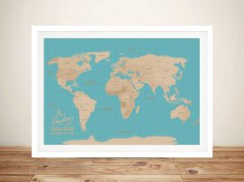 Blue Sands Push Pin Travel Map