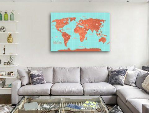 World Pushpin Map Canvas Artwork