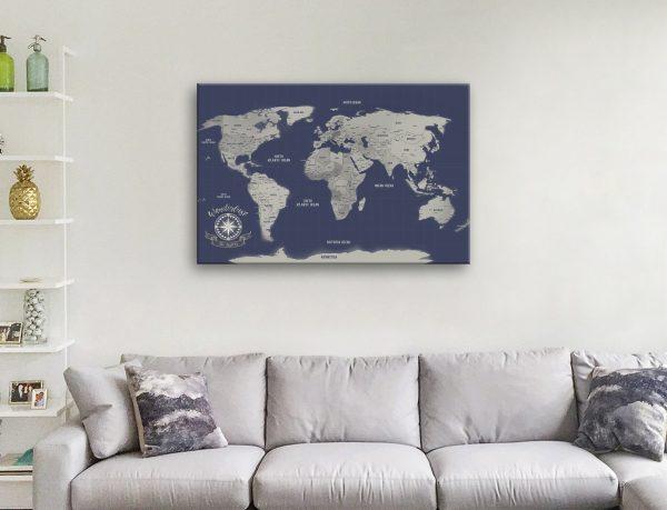 Navy Blue Silver Personalised Push Pin Map Canvas Wall Art