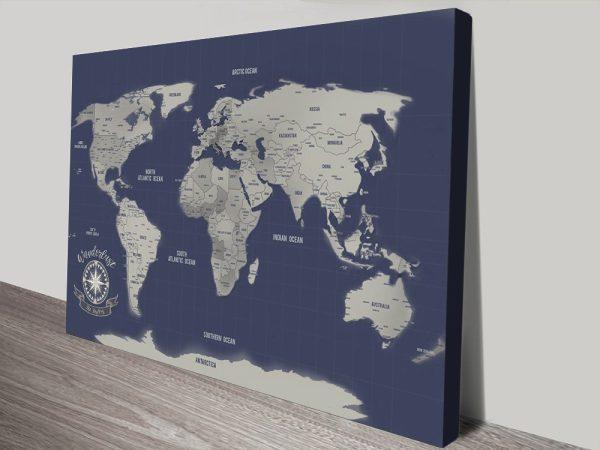 Navy Blue World Map pin canvas print