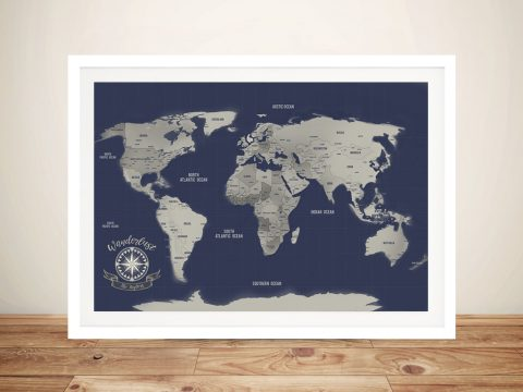 Navy Blue & Silver Push Pin Map Wall Art Pinboards with Custom Words