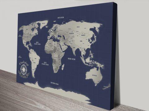 Navy Blue & Silver Push Pin Map Wall Art