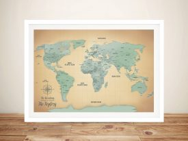 Sand & Teal Push Pin Travel Map Wall Cork Pinboard Perth Australia