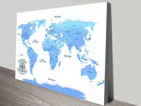 Sky Blue Push Pin Map canvas print