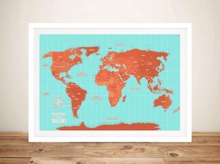 Turquoise and Orange Push Pin World Map