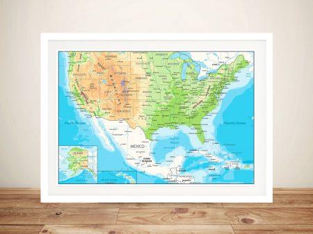 USA Full Colour Map Framed Wall Art