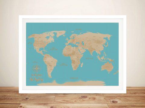 Blue Sands Push Pin Travel Map