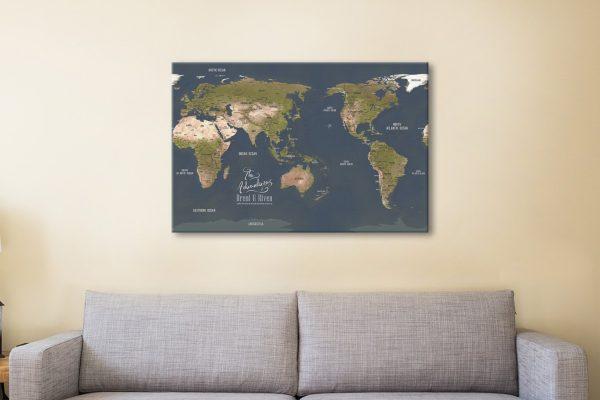 Buy Pacific-Centre World Map Canvas Artwork