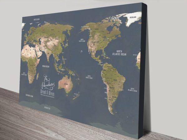 Australia Central Pinboard Map Art