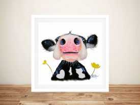 Daffodil Close Up Cow Framed Art
