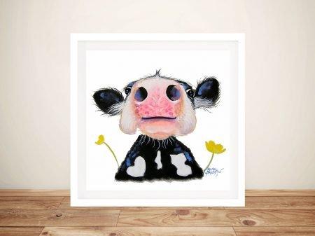 Daffodil Close Up Cow Framed Art