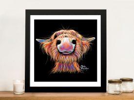 Irn Broo Too Cute Cow Framed Wall Art