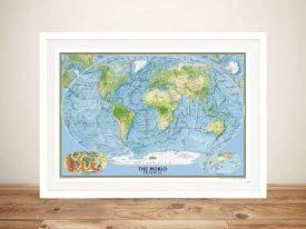 national geographic framed map