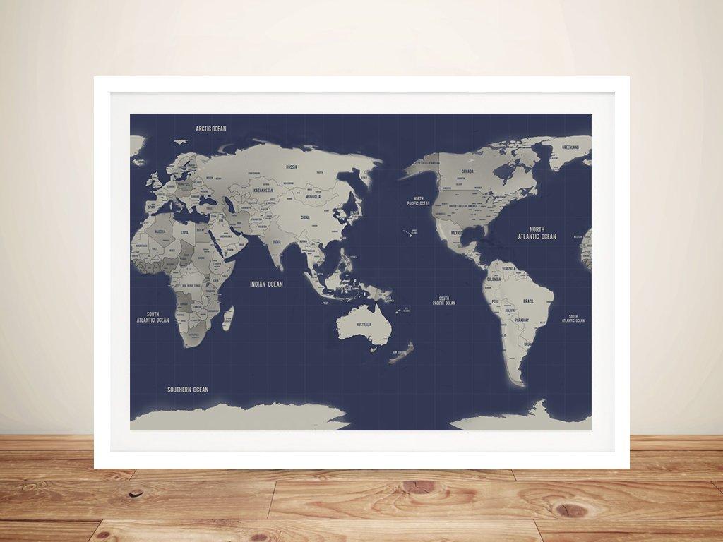 Australia Centric Navy Silver World Map Canvas Art Print With Push