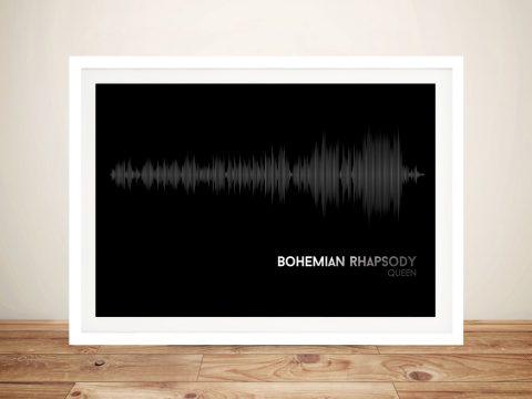 Queen Bohemian Rhapsody Black Soundwave Framed Wall Art
