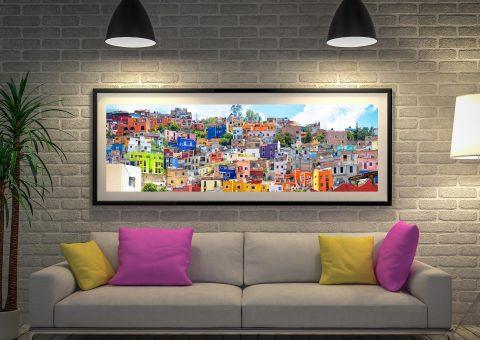 Cheap Panoramic Art Colorful City Guanajuato