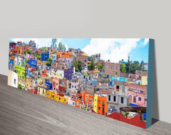 Colorful City Guanajuato Panoramic Artwork AU