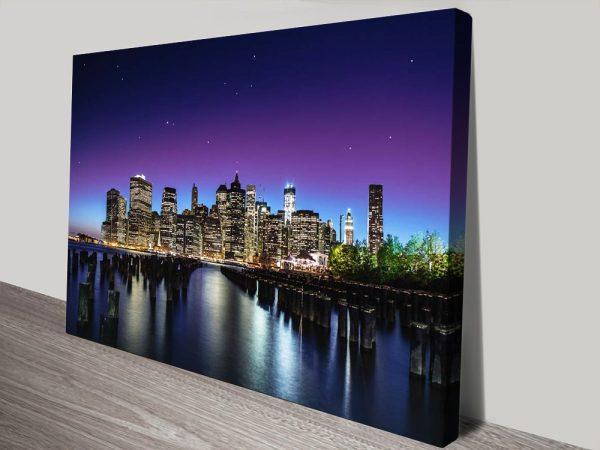 New York Skyline Stretched Canvas Art AU
