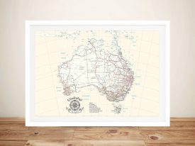 Personalised Australia Cream Rectangle Push Pin Travel Map