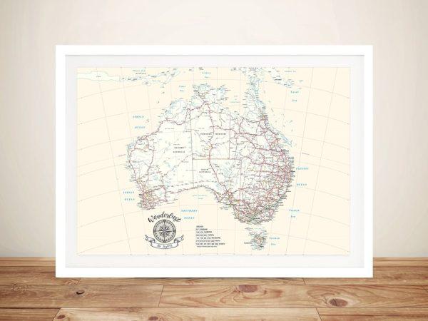 Personalised Australia Cream Rectangle Push Pin Travel Map