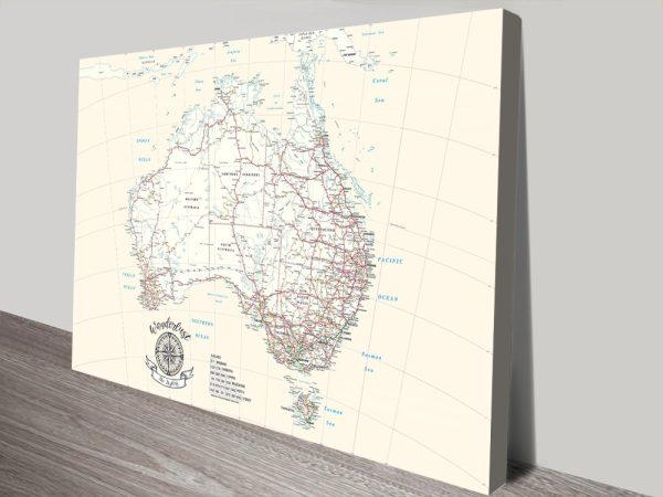 Australia Custom Map Canvas Artwork Online