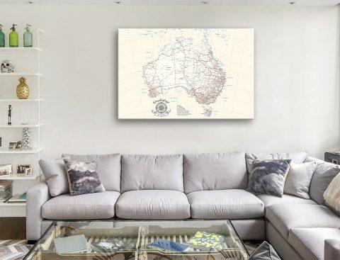 Australia Custom Map Canvas Print